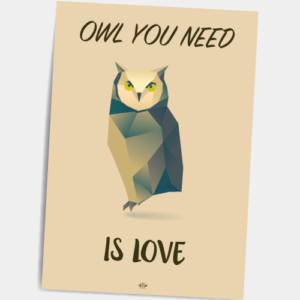 Postkort_owl_you_need_is_love