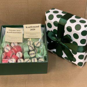 Konfirmand gaveæske grøn lille